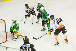 08.01.2017, Hala Tivoli, Ljubljana, SLO, EBEL, HDD Olimpija Ljubljana vs Dornbirner Eishockey Club, Qualifikationsrunde, im Bild Frazee Jeff of HDD Olimpija and Grabher Meier Martin of Dornbirn Buldogs // during the Erste Bank Icehockey League Qualification round match between HDD Olimpija Ljubljana and Dornbirner Eishockey Club at the Hala Tivoli in Ljubljana, Slovenia on 2017/01/08. EXPA Pictures &copy; 2017, PhotoCredit: EXPA/ Sportida/ Grega Valancic<br /> <br /> *****ATTENTION - OUT of SLO, FRA*****