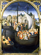 Shrine (Reliquary) of St Ursula, 1489. Gilded, painted wood. Hans Memling (1430/1440-1494) South Netherlandish painter.  St Ursula (4th century) and her 10,000 virgins leaving Basle. Pilgrimage Christian  Boat Ship Cog Sail