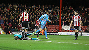 Jordan RHODES head injury during the Sky Bet Championship match between Brentford and Blackburn Rovers at Griffin Park, London, England on 13 December 2014.
