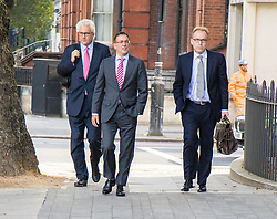 London, September 22nd 2016.  Christopher Bush, centre, the former managing director of Tesco UK, charged with one count of fraud by abuse of position and one count of false accounting, arrives at Westminster Magistrates Court, with former Prime Minister David Cameron's Brother Alexander Cameron QC (left) following the 2014 £263m-plus accounting scandal at the supermarket chain. ©Paul Davey<br /> FOR LICENCING CONTACT: Paul Davey +44 (0) 7966 016 296 paul@pauldaveycreative.co.uk