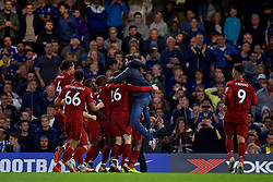 LONDON, ENGLAND - Saturday, September 29, 2018: Liverpool's Daniel Sturridge (hidden) celebrates with team-mates and a supporter after scoring a late equalising goal to grab the Reds a 1-1 draw during the FA Premier League match between Chelsea FC and Liverpool FC at Stamford Bridge. (Pic by David Rawcliffe/Propaganda)