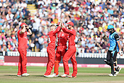 Lancashires Matthew Parkinson gets another wicket during the Vitality T20 Finals Day semi final 2018 match between Worcestershire Rapids and Lancashire Lightning at Edgbaston, Birmingham, United Kingdom on 15 September 2018.