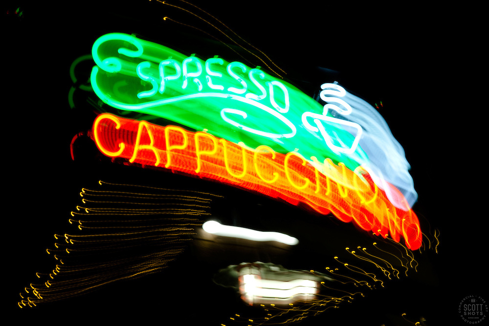 """""""Espresso Cappuccino"""" - The effect of this photo was achieved by moving the camera lens during a long exposure."""