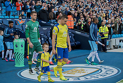 MANCHESTER, ENGLAND - Saturday, October 15, 2016: Everton's captain Phil Jagielka leads his side out to face Manchester City before the FA Premier League match at the City of Manchester Stadium. (Pic by Gavin Trafford/Propaganda)