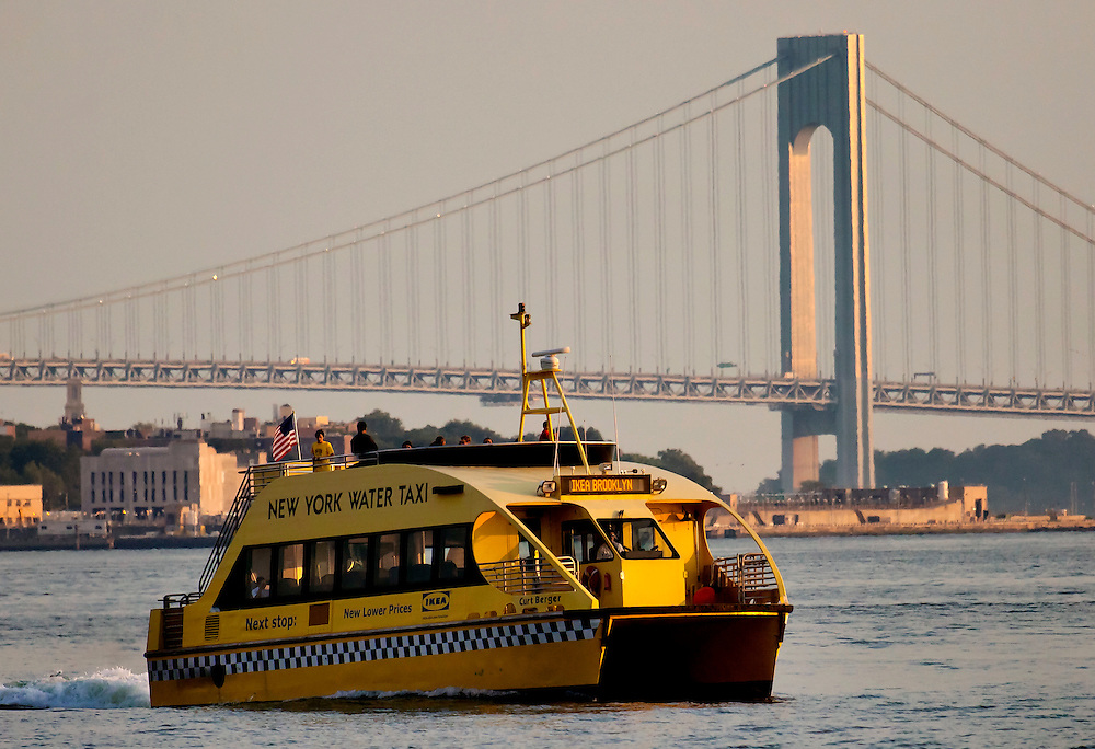 Water Taxi heads for the Ikea Store in Red Hook, Brooklyn, with the Verranzano Bridge in the background.