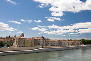 Houses along the Rhone River in Arles, France
