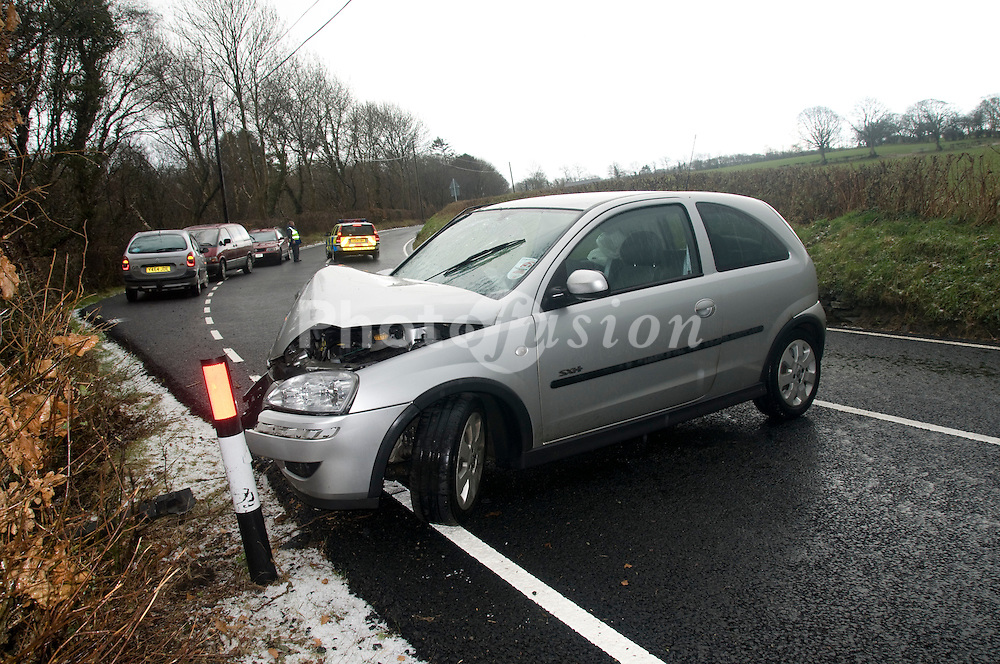 Road traffic accident on country road near Llanilar; Ceredigion; Wales,