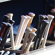 Baseball bats of the New York Mets in the dugout  during the New York Mets Vs Washington Nationals MLB regular season baseball game at Citi Field, Queens, New York. USA. 2nd August 2015. Photo Tim Clayton