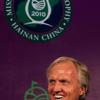 HAIKOU, CHINA - MARCH 18:  Greg Norman, Tournament Ambassador smiles during the press conference for launching of the Mission Hills Star Trophy wich will be played from October 28-31 at the newly launched Mission Hills Resort Hainan on March 18, 2010 in Haikou, China.  Photo by Victor Fraile / studioEAST