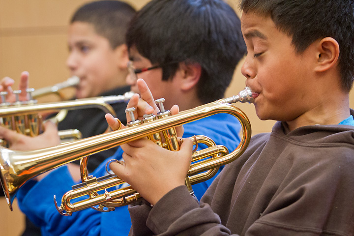 Members of the Count Basie Orchestra visit the music class at Clark Middle School, Anchorage, Alaska