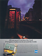 American Express, London England, Phone Booth, emergency replacement card
