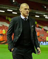 LIVERPOOL, ENGLAND - Thursday, March 10, 2016: Liverpool's Martin Skrtel arrives ahead of the UEFA Europa League Round of 16 1st Leg match against Manchester United at Anfield. (Pic by David Rawcliffe/Propaganda)
