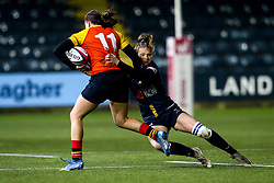 Lydia Thompson of Worcester Warriors Women tackles Lindsey Mayo of Richmond Women - Mandatory by-line: Robbie Stephenson/JMP - 11/01/2020 - RUGBY - Sixways Stadium - Worcester, England - Worcester Warriors Women v Richmond Women - Tyrrells Premier 15s