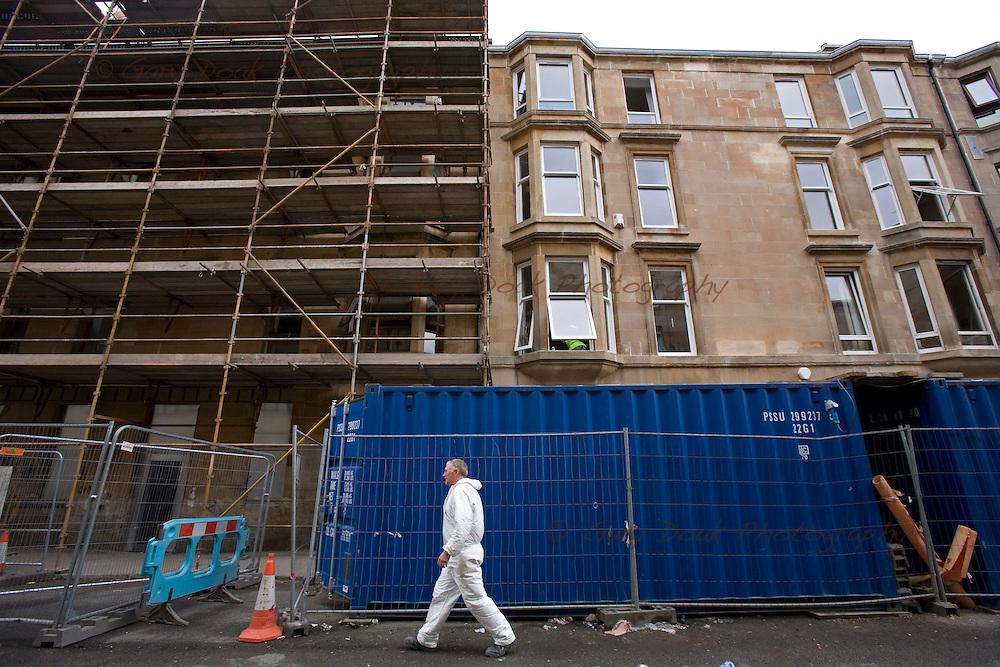 Glasgow Housing Association improvements in Govanhill, Glasgow.Building works in progress in Westmoreland Street...