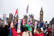 London, United Kingdom. June 3rd 2012..Queen Elizabeth II Diamond Jubilee 1952-2012.People watch the Thames Diamond Jubilee Pageant
