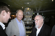 NICHOLAS LOGSDAIL AND PETER BLAKE, Beyond Belief-Damien Hirst. White Cube Hoxton and Mason's Yard.Party  afterwards at the Dorchester. Park Lane. 2 June 2007.  -DO NOT ARCHIVE-© Copyright Photograph by Dafydd Jones. 248 Clapham Rd. London SW9 0PZ. Tel 0207 820 0771. www.dafjones.com.