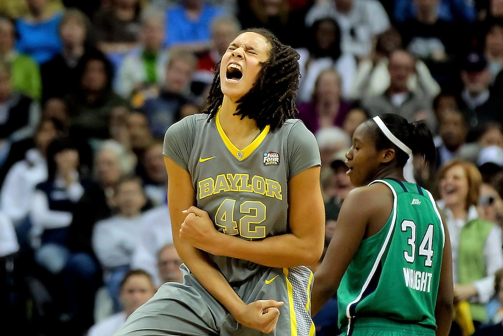 Brittney Griner #42 of the Baylor Bears celebrates late in the second half against the Notre Dame Fighting Irish during the National Final game of the 2012 NCAA Division I Women's Basketball Championship at Pepsi Center on April 3, 2012 in Denver, Colorado. Baylor defeated Notre Dame 80-61.