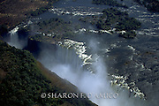 VICTORIA FALLS, ZAMBEZE RIVER AND GORGE, AERIAL VIEW FROM THE NORTH