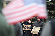 """HAMTRAMCK - JANUARY 29: Alex Elkins, 32, and Lindsay Helfman, from Hazel Park take part in the """"Emergency Protest Hamtramck: We Stand in Solidarity with Muslims"""" with more then one thousand others Sunday January 29, 2017 at city hall in Hamtramck. (Photo by Bryan Mitchell/Special to Detroit News)"""