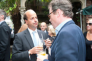 RUPERT WIGGIN; STRUTT AND PARKER;  SEAMUS WYLIE; AYRTON WYLIE, Archant Summer party. Kensington Roof Gardens. London. 7 July 2010. -DO NOT ARCHIVE-© Copyright Photograph by Dafydd Jones. 248 Clapham Rd. London SW9 0PZ. Tel 0207 820 0771. www.dafjones.com.