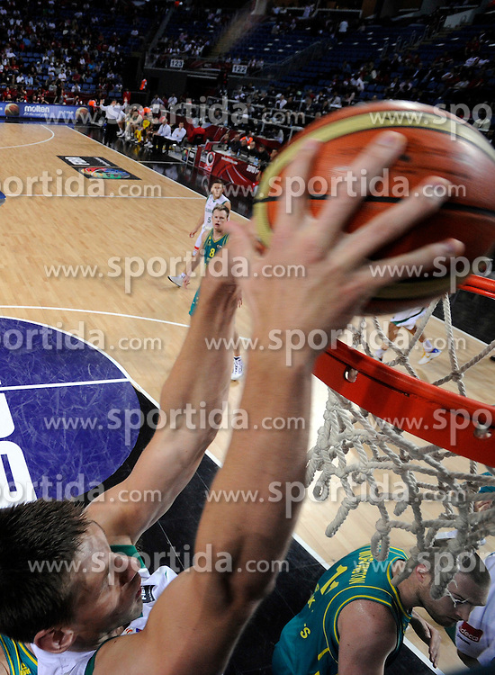 Gasper Vidmar of Slovenia during  the eight-final basketball match between National teams of Slovenia and Australia at 2010 FIBA World Championships on September 5, 2010 at the Sinan Erdem Dome in Istanbul, Turkey. (Photo By Vid Ponikvar / Sportida.com)