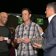 March 6, 2015, Indian Wells, California:<br /> James Blake and Andy Roddick participate in a draw ceremony with Joe Kiani, Founder, Chairman and CEO of Masimo, during the McEnroe Challenge for Charity VIP Draw Ceremony in Stadium 2 at the Indian Wells Tennis Garden in Indian Wells, California Friday, March 6, 2015.<br /> (Photo by Billie Weiss/BNP Paribas Open)