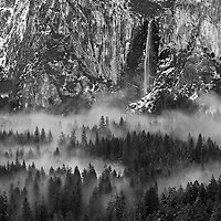 Bridalveil Falls from Tunnel View 5-42 PM monochrome