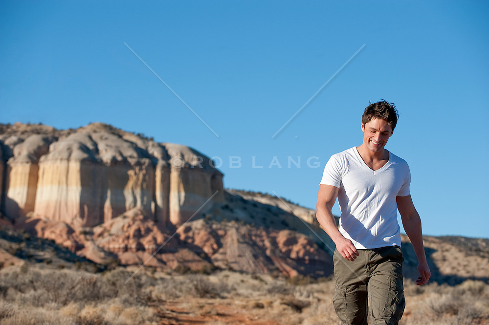 Young man enjoying a walk in the New Mexico desert