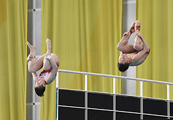 BEIJING, March 9, 2019  Lian Junjie (R) and Si Yajie of China compete during the mixed 10m synchronised final at the FINA Diving World Series 2019 at the National Aquatics Center in Beijing, capital of China, March 9, 2019. (Credit Image: © Xinhua via ZUMA Wire)