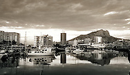 Black and white Panorama of Castle Hill, Townsville city and water front, Queensland, Australia.