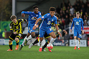 Peterborough United forward Lee Angol on the attack during the The FA Cup match between Burton Albion and Peterborough United at the Pirelli Stadium, Burton upon Trent, England on 7 November 2015. Photo by Aaron Lupton.
