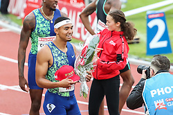 STOCKHOLM, May 31, 2019  Michael Norman (L front) of the United States celebrates after the men's 400m at 2019 IAAF Diamond League in Stockholm, capital of Sweden, on May 30, 2019. Michael Norman won the 1st place with 44.53 seconds. (Credit Image: © Xinhua via ZUMA Wire)