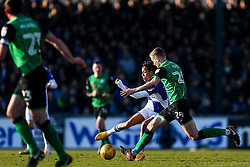 Kyle Bennett of Bristol Rovers is challenged by Ryan Yates of Scunthorpe United - Rogan/JMP - 24/02/2018 - FOOTBALL - Memorial Stadium - Bristol, England - Bristol Rovers v Scunthorpe United - EFL Sky Bet League One.