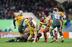 Jack Willis of Wasps is grounded by the Leicester Tigers defence - Mandatory by-line: Arron Gent/JMP - 15/02/2020 - RUGBY - Welford Road Stadium - Leicester, England - Leicester Tigers v Wasps - Gallagher Premiership Rugby