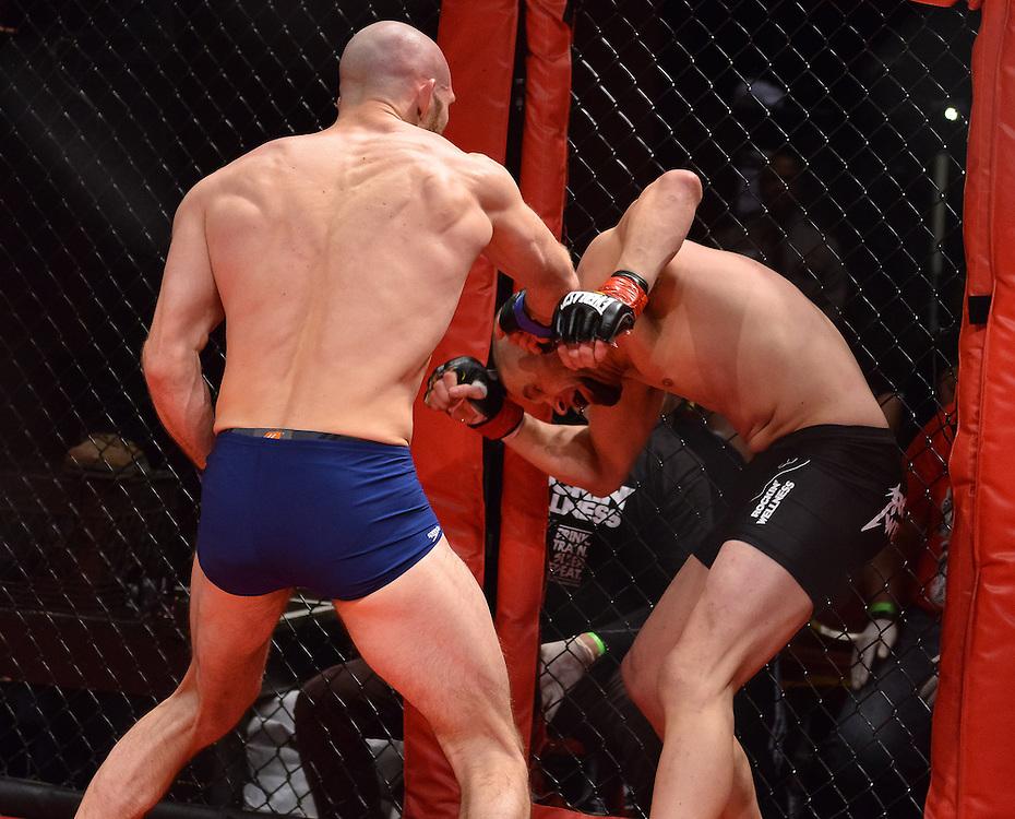 Atlantic City, New Jersey, January 24, 2014: Elijah Harshbarger(purple shorts) Vs Chris Cope(black shorts) at Ring of Combat 47 at The Tropicana Casino.