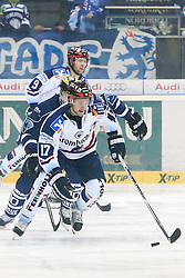 06.01.2015, Saturn Arena, Ingolstadt, GER, DEL, ERC Ingolstadt vs Iserlohn Roosters, 36. Runde, im Bild Macek Brooks (Nr.17, Iserlohn Roosters) mit Puck // during Germans DEL Icehockey League 36th round match between ERC Ingolstadt and Iserlohn Roosters at the Saturn Arena in Ingolstadt, Germany on 2015/01/06. EXPA Pictures © 2015, PhotoCredit: EXPA/ Eibner-Pressefoto/ Strisch<br /> <br /> *****ATTENTION - OUT of GER*****