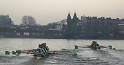 19/12/2003 - Photo  Peter Spurrier.2004 Cambridge University Boat Club Trail 8's.Both trail crews, Guns [Right] and Roses, approach Hammersmith Bridge. . Varsity; Boat Race Rowing Course: River Thames, Championship course, Putney to Mortlake 4.25 Miles