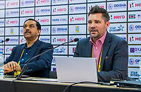 BHUBANESWAR (INDIA) -  Persconferentie Mike Joyce , Hockey Foundation, en Tayyab Ikram, Chief Executive Officer, AHF,     bij het WK Hockey heren.  COPYRIGHT KOEN SUYK