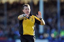 Referee Nigel Owens - Photo mandatory by-line: Patrick Khachfe/JMP - Mobile: 07966 386802 25/10/2014 - SPORT - RUGBY UNION - Bath - The Recreation Ground - Bath Rugby v Toulouse - European Rugby Champions Cup