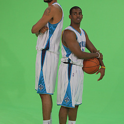 26 September 2008:  Tyson Chandler (6) poses with teammate Chris Paul (3) during media day for the New Orleans Hornets at the New Orleans Arena in New Orleans, LA.