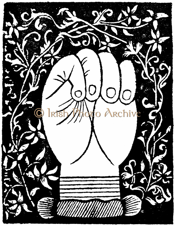 Chiromancy: Lines of the closed hand from Andre Corvo 'L'Art de Chyromance' Lyons c1545. Woodcut.
