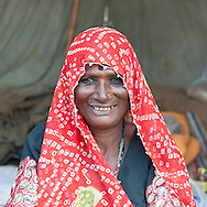 Mature Rajasthani Indian woman smiling to camera