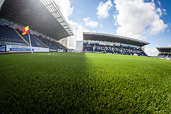 The new plastic pitch at The Falkirk Stadium, for the Scottish Championship game v Morton. The woven GreenFields MX synthetic turf and the surface has been specifically designed for football with 50mm tufts compared with the longer 65mm which has been used for mixed football and rugby uses.  It is fully FFA two star compliant and conforms to rules laid out by the SPL and SFL.<br />