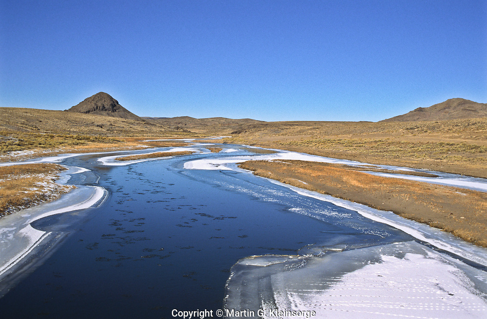 The Rio Grande River cuts through the San Luis Hills of the San Luis Valley, Colorado.