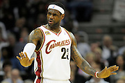 Apr 19, 2010; Cleveland, OH, USA; Cleveland Cavaliers forward LeBron James (23) tells his teammates to slowdown during the first period in game two against the Chicago Bulls in the first round of the 2010 NBA playoffs at Quicken Loans Arena. Mandatory Credit: Jason Miller-US PRESSWIRE