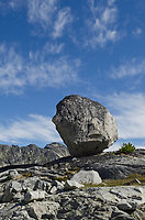 Balanced Granite boulder in Marriott Basin, Coast Mountains British Columbia