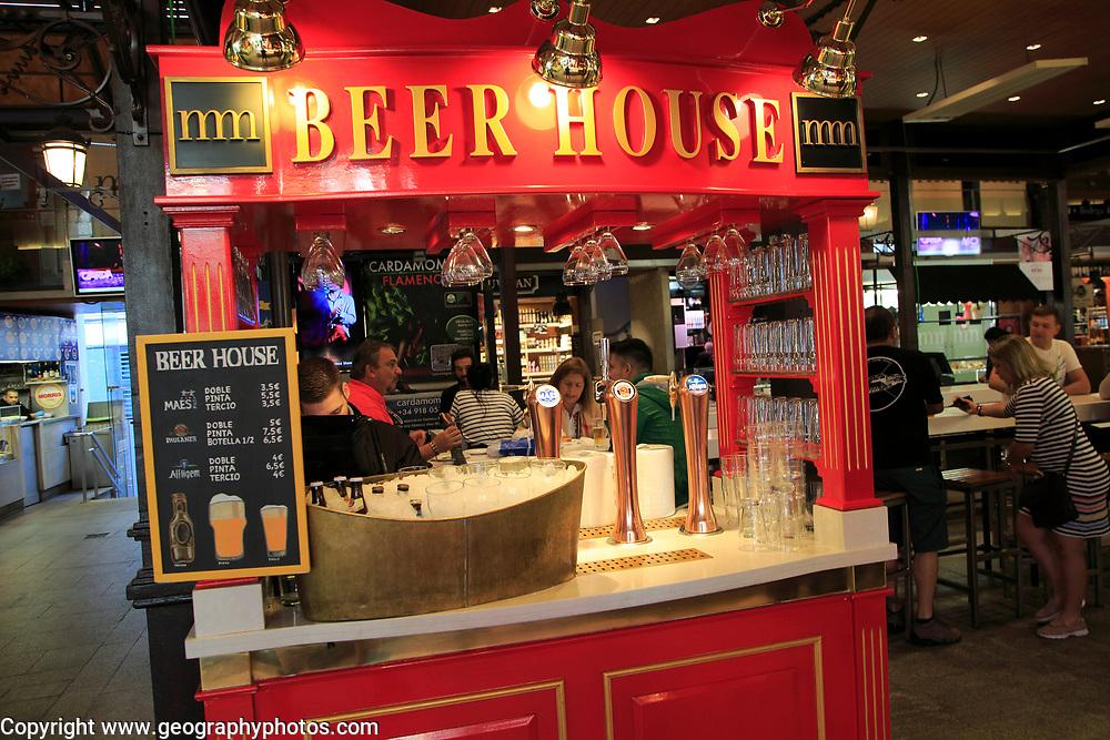 Beer House stall inside Mercado de San Miguel market historic building, Madrid city centre, Spain