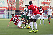 Hamilton Academical midfielder Tom Taiwo (12) makes a tackle during the Ladbrokes Scottish Premiership match between Hamilton Academical FC and Celtic at New Douglas Park, Hamilton, Scotland on 24 November 2018. Pic Mick Atkins