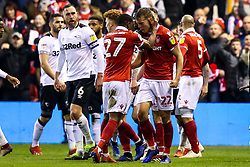 Ryan Yates and Tendayi Darikwa of Nottingham Forest celebrate victory over Derby County - Mandatory by-line: Robbie Stephenson/JMP - 25/02/2019 - FOOTBALL - The City Ground - Nottingham, England - Nottingham Forest v Derby County - Sky Bet Championship