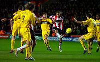 Photo: Alan Crowhurst.<br />Southampton v Burnley. Coca Cola Championship. 13/01/2007. Saints' David McGoldrick (C) strikes at goal.